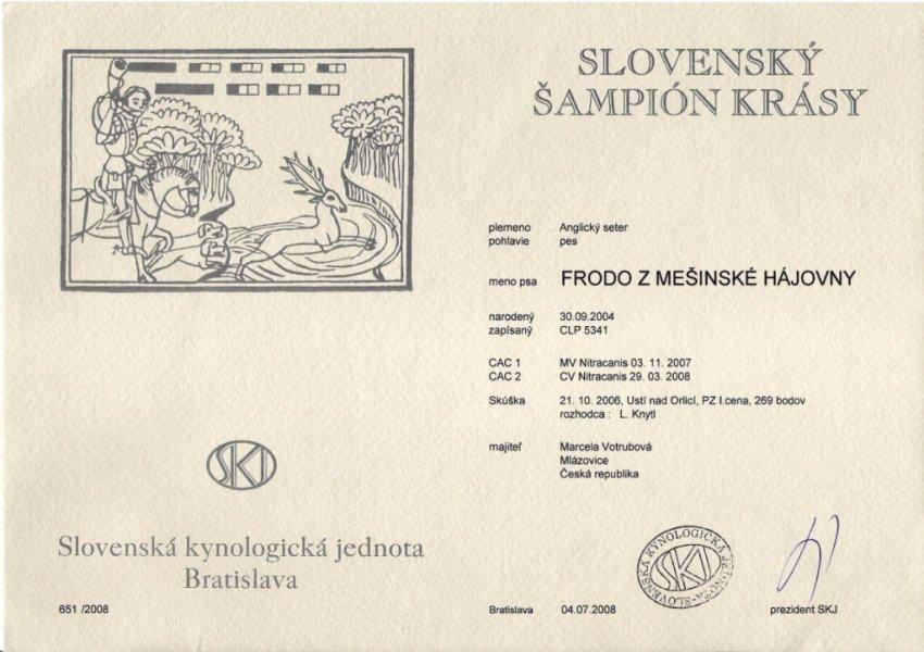 Certifikát Slovenského šampiona krásy